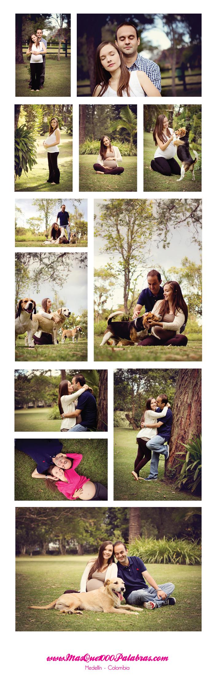 Esteban y monica en su embarazo con los perritos