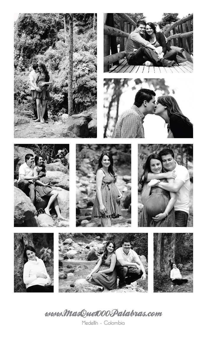 Collage fotoestudio Lina y Carlos embarazados