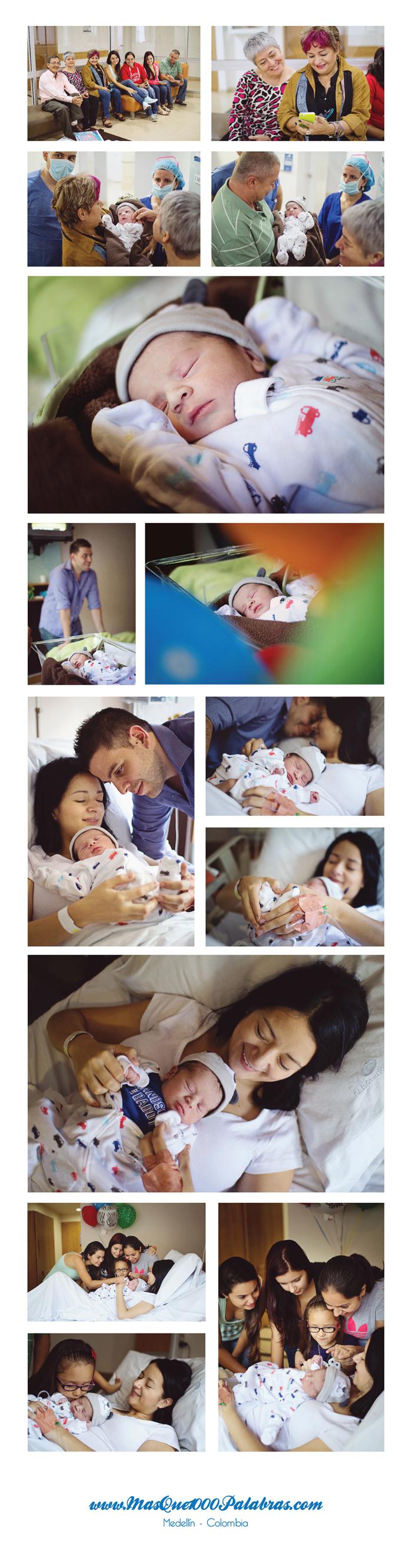 Collage fotos nacimiento de Pablo